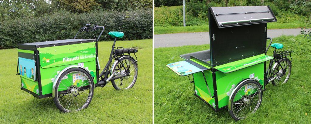 Christiania EventBike-merkkinen sähköavusteinen kolmipyöräinen laatikkopyörä.