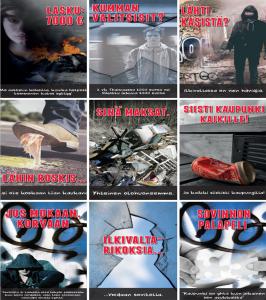 Yhdeksän julisteen sarja, aiheina ilkivalta, roskaaminen ja sovittelu.