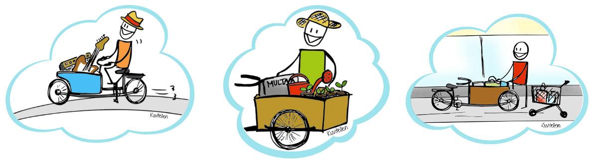 Piirroskuvia lastipyöristä: soittaja vie lastipyörällä soittimia, puutarhuri multaa ja kasveja ja ostoksia pakataan pyörään.