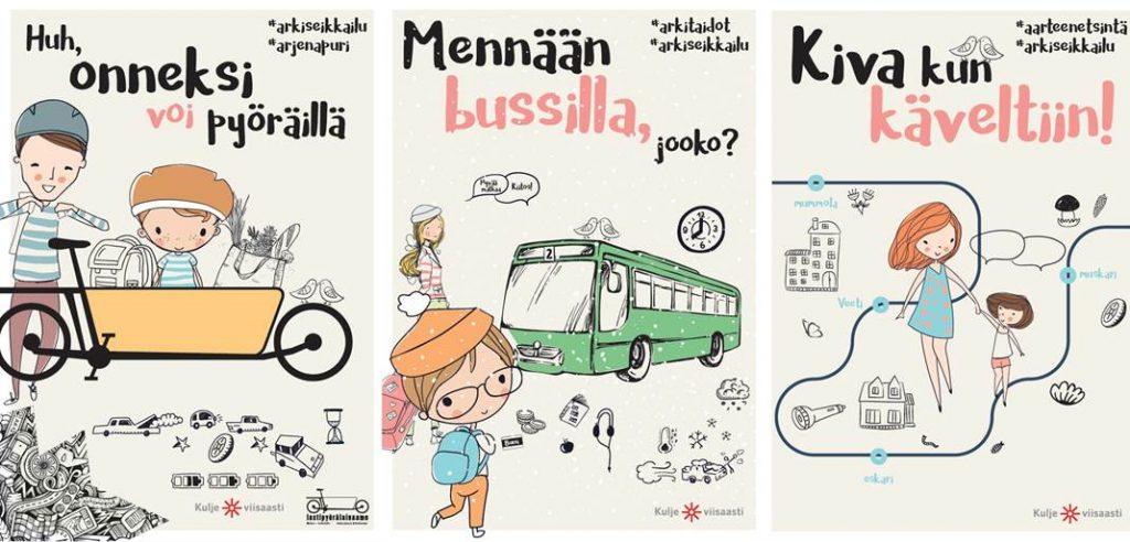 Kolmen julisteen sarja, jonka aiheena kestävä liikkuminen eli pyöräily, joukkoliikenne ja kävely.