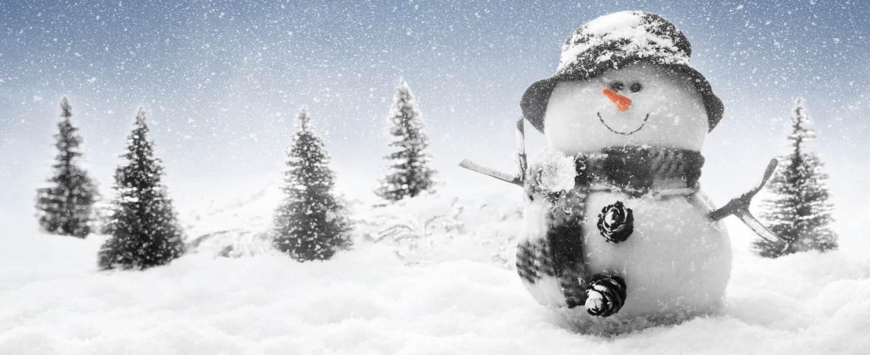 Lumiukko talvimaisemassa.