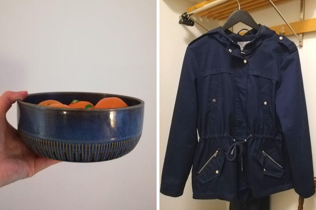 Kuvassa sininen astia, jossa mandariineja sekä sininen takki roikkuu naulakossa.