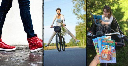 Kolmen kuvan kollaasi. Ensimmäisessä kuvassa näkyy kävelevät jalat mustissa housuissa ja punaisissa lenkkareissa. Toisessa kuvassa nainen ajaa pyörällä kesällä ja kolmennessa luetaan Aku Ankkoja lastipyörän kyydissä.