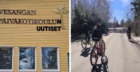 Kahden kuvan kollaasi: toisessa kuvassa koulun seinä ulkopuolelta kuvattuna ja teksti Vesangan päiväkotikoulun uutiset. Toisessa kuvassa kolme lasta pyöräilee aurinkoisena pävänä hiekkatiellä.