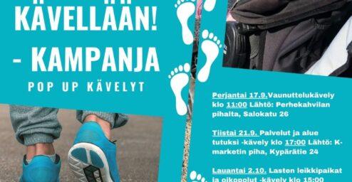 Kävellään! -kampanjan pop up kävelyt. Kuvassa kävelijä ja lapsi lastenvaunuissa.