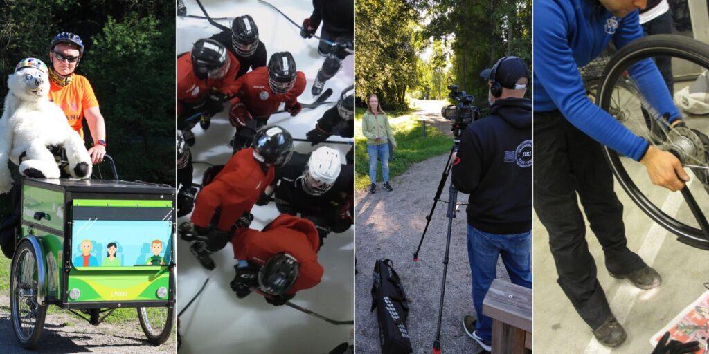 Neljän kuvan sarja, joista ensimmäisessä mies, pehmojääkarhu ja lastipyörä, toisessa jääkiekon pelaajia, kolmannessa kuvastilanne, neljännessä pyöränhuolto.